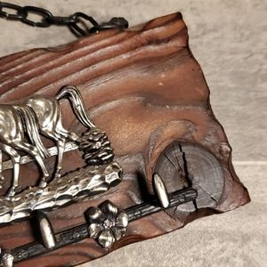 None Accents - Wooden Metal Horses Key Hooks